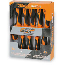 Beta 1263/D10 Set of 10 Grip Slotted/Cross Head Phillips Work Screwdrivers