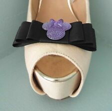 2 Quirky Black Bow Shoe clips with Purple Mini Mouse-Other ribbon colours avail.
