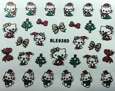 Nail Art 3D Glitter Decal Stickers Hello Kitty Christmas Tree Bows BLE938D