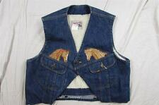 Vtg Lee Storm Rider Modified Denim Vest Sherpa Lined W/ Horse Embroidery 70s Era