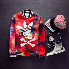 Fashion Men's Baseball Jacket Red Skull Print Button Winter Coat Outerwear US M