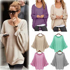 Womens OVERSIZE Long Sleeve Pullover Waterfall Baggy Tops Jumper Blouse UK 8-24