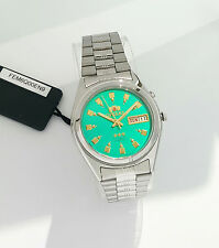 ORIENT 3 Star Automatic Watch Mens SILVER tone Green Dial FEM6Q00EN9 New w Box