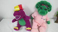 BARNEY TALKING SILLY HATS & BABY BOP PLUSH TOY with PINK THERMAL PAJAMAS