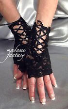 SEXY NEW LACE UP TIE FINGERLESS GLOVES - BLACK