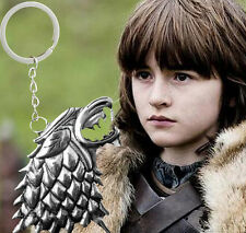 ☆ GAME OF THRONES - HOUSE OF STARK - 3D DIRE WOLF HEAD KEYRING + VELVET POUCH