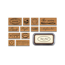 Cavallini - Tin of 12 Rubber Stamps - Par Avion - Black Ink Stamp Pad Included