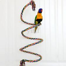 2M Pet Bird Parrot Rope Coil Swing Perches Cockatiel Conure Budgie Cage Toys