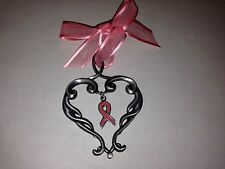 Breast Cancer Awareness Celebrate Life Pewter Metal Ornament Pink Ribbon -- New
