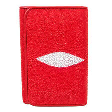 Genuine Stingray Skin Leather Trifold Coin Wallet Card Purse PKK PR63 Fire Red