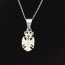 """Sterling Silver Rolo Necklace 18"""" With Kokarda Pendant 30mm Youth Size"""