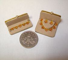 DOLLS HOUSE MINIATURE HANDMADE BOXED 'CITRINE' JEWELLERY SET FOR DOLL HOUSE/SHOP