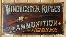 Winchester Rifles & Ammunition TIN SIGN metal vtg rustic western wall decor 1862