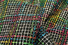 D196 BLACK WOOL BLEND MULTI COLOUR BOUCLE REVERSE SIDE LAMINATE MADE IN ITALY