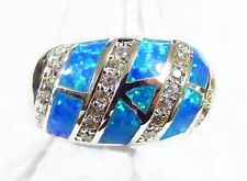 "Sterling 925 Silver SF Size 8 Ring Blue Lab Fire Opal & White Topaz 1/2"" Wide"