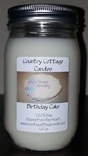 16 oz Hand Poured Soy Candle Birthday Cake.FREE SHIPPING