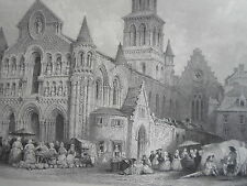 Eglise NOTRE DAME POITIERS GRAVURE ORIGINALE d'aprés T.ALLOM XIXéme
