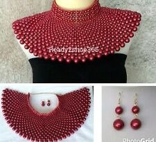Beaded Bib Massive Egyptian Pearl Necklace Collar Statement Huge Armor Red Pink