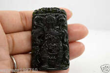 #042 Chinese natural nephrite black jade Carving pendant Guan Yu 关公