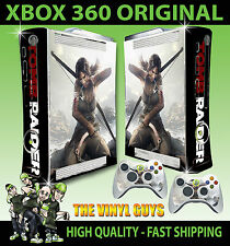 XBOX 360 ORIGINAL SHAPE LARA CROFT TOMB RAIDER STICKER SKIN & 2 PAD SKINS