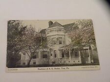 VINTAGE POSTCARD RESIDENCE OF A.E. BACKER TROY, PA posted 1908