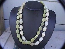 "vintage pale green & white stone necklace maybe jade 16"" w silver beads & clasp"