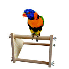 Parrot Bird Perch Stand Play Fun Toys Gym Wooden Activity Table Top Playstand