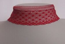 Red Lace ribbon choker necklace gothic punk vintage halloween retro 80s 90s