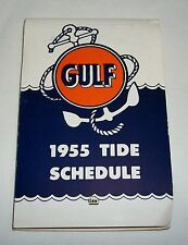 Vintage 1955 Tide Schedule Chart GULF Gas Oil Advertising Nautical Boston