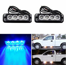 2X Blue 4 LED Waterproof Warning Hazard Emergency Beacon Flash Strobe Light Bar