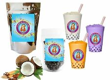 10+ Drinks Coconut Chai Boba Tea Kit: Tea Powder, Tapioca Pearls & Straws