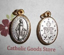 Two Tone Miraculous Medal - 1  inch Oxidized Italian Silver Cast Medal