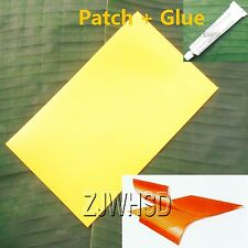 "9.4""x14"" Yellow PVC Patch +Glue for Inflatable Boat Kayak Raft Bouncer Water Toy"