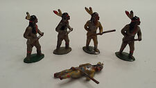 5 Vintage Lead Indians, Barclay, Manoil, Unknown  - LOT 3