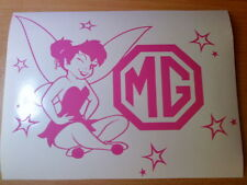 tinkerbell fairy mg logo girls pink vinyl decal car sticker novelty rear window