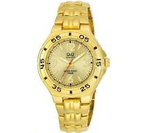 Q&Q F346-003Y Mens Gold Dive Dress Quartz Bracelet Watch New Citizen Movement