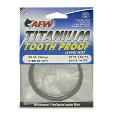 AFW TOOTH PROOF TITANIUM LEADER Single Strand Wire 75LB Test  NEW!  STI075B-15FT