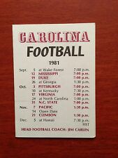 CFB 1981 SOUTH CAROLINA GAMECOCKS Football Schedule College FB