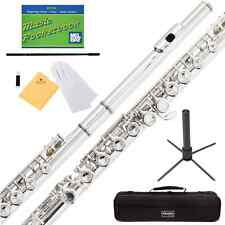 Mendini Nickel Silver Closed Hole C Flute with Stand, 1 Year Warranty, Case, Cle