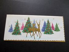 #K454- Unused Xmas Greeting Card Gold Embossed Deer w/ Holiday Forest Trees
