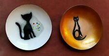 2 Eames/Andersen style Norway? mid century Guilloche Enamel cat small mini Dish