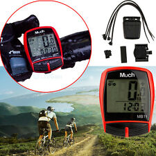 RED Waterproof Digital LCD Computer Cycle Bicycle Bike MTB Speedometer Odometer