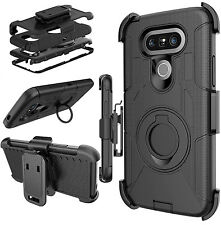 Military Style Heavy Duty Armor Phone Case w/ Kickstand & Clip Holster for LG G5