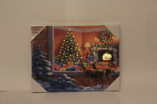XMAS LED LIGHT UP SNOW Peeking SCENE CANVAS CHRISTMAS DECORATION PICTURE w timer