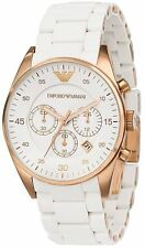 New Luxury Emporio Armani AR5919 Men's White and Rose Gold Chronograph Watch
