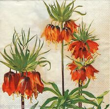 4 x Single PAPER NAPKINS Fritillaria Imperials Flowers Floral DECOUPAGE CRAFTS