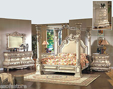 Formal Traditional Antique White 4P Bedroom Set Cal King Size Bed Bonded Leather