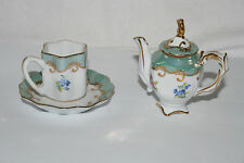 Lovely miniature teapot, cup & saucer, Limoges/Sevres lustre style by Past Times