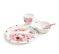 Hello Kitty Baby Lock & Lock Dish Set 4pcs Kids Lunch Meal Bowl Plate Cup Spoon
