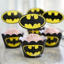 Batman Cupcake Liner Wrap Wrappers with Toppers cake decor